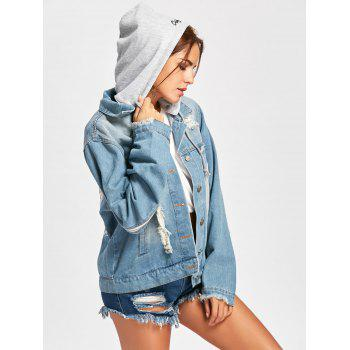 Hooded Wing Embroidery Distressed Denim Jacket - DENIM BLUE L
