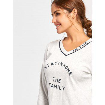 V Neck PJ Tee with Striped Pants - M M