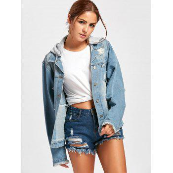 Hooded Wing Embroidery Distressed Denim Jacket - S S