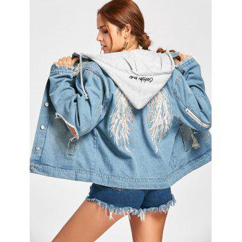 Hooded Wing Embroidery Distressed Denim Jacket - DENIM BLUE S