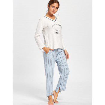 V Neck PJ Tee with Striped Pants - LIGHT GRAY 2XL