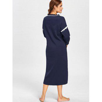 Frill Trim High Low Oversized Sleep Dress - MIDNIGHT L