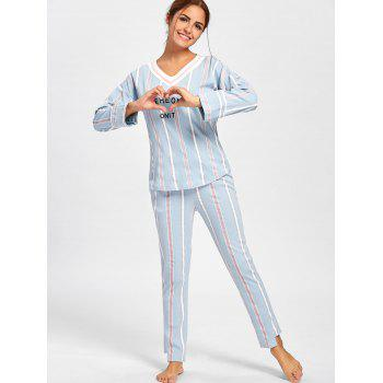V Neck Striped Pajamas Set - L L