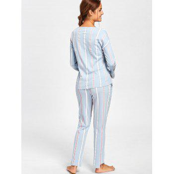 V Neck Striped Pajamas Set - CLOUDY CLOUDY