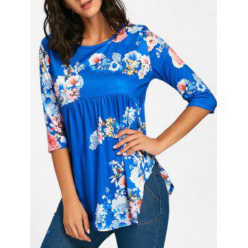 Floral Print Empire Waisted Swing T-shirt - BLUE S