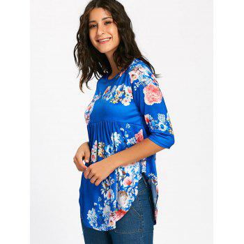 Floral Print Empire Waisted Swing T-shirt - M M