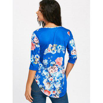 Floral Print Empire Waisted Swing T-shirt - BLUE BLUE