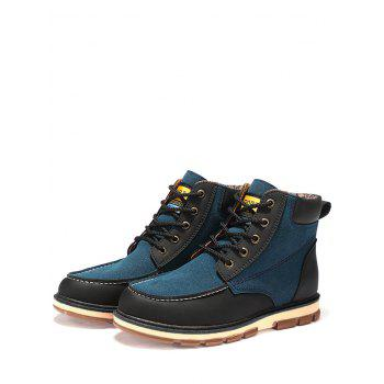 Color Block Moc Toe Ankle Boots - BLUE 45