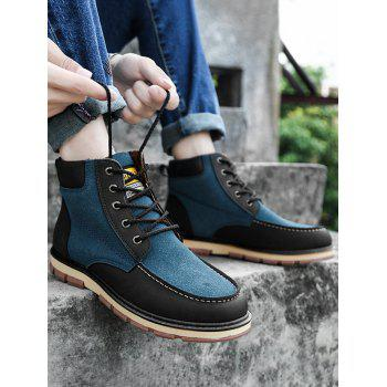 Color Block Moc Toe Ankle Boots - BLUE BLUE