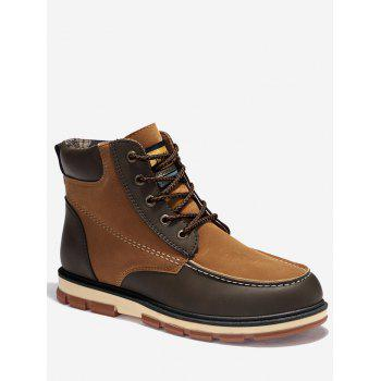 Color Block Moc Toe Ankle Boots - BROWN 46