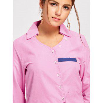 Turndown Collar Asymmetric Shirt - PINK M