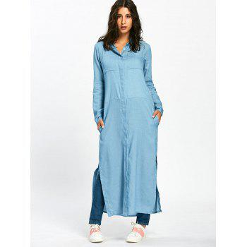 Side Slit Maxi Longline Shirt with Pockets - LIGHT BLUE XL