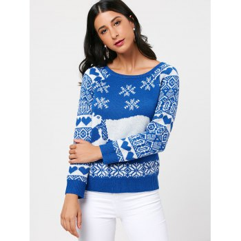 Raglan Sleeve Pullover Sea Bear Sweater - BLUE BLUE