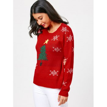 Tree and Snowflake Pattern Christmas Pullover Sweater - RED RED
