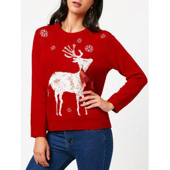 Christmas Elk Tied A Bow Tie Pattern Sweater - RED RED