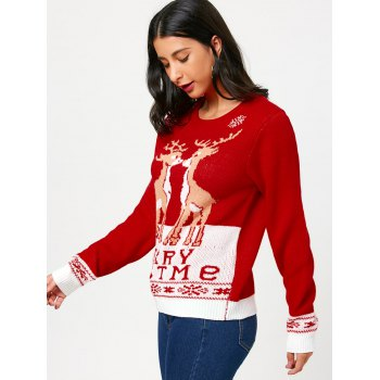 Christmas Pullover Sweater with Little Fawn Kiss Pattern - ONE SIZE ONE SIZE