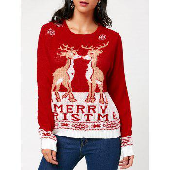 Christmas Pullover Sweater with Little Fawn Kiss Pattern - RED ONE SIZE