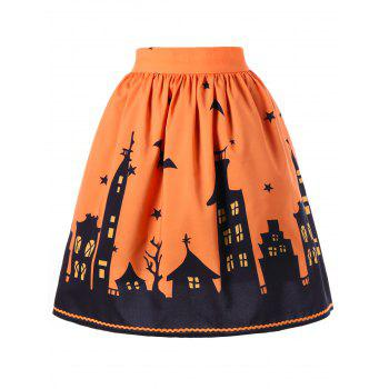Halloween Graphic A-line Skirt - ORANGE L