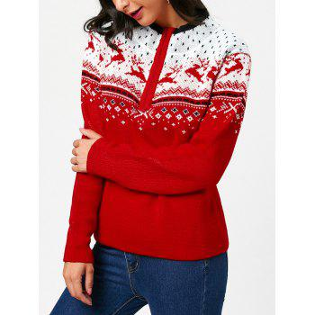 Half Zip Christmas Deers Pattern Pullover Sweater - RED RED