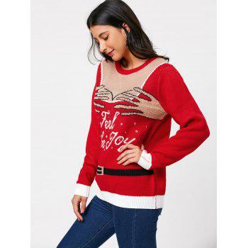 Pullover Sweater avec Feel The Joy Pattern - Rouge ONE SIZE