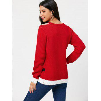 Pullover Sweater with Feel The Joy Pattern - RED ONE SIZE