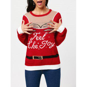 Pullover Sweater with Feel The Joy Pattern - RED RED