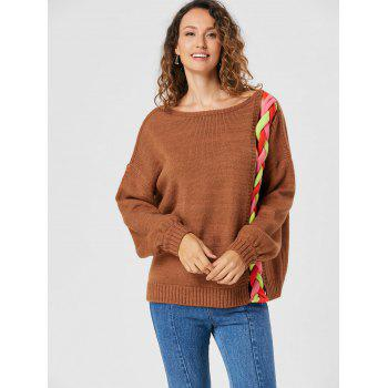 Drop Shoulder Cable Knit Sweater - LIGHT BROWN LIGHT BROWN