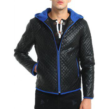 Color Block Rhombus Embossing Veste en cuir PU - Royal XL