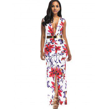 Floral Print Plunging Slit Belted Maxi Dress - FLORAL M