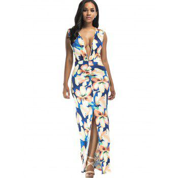 Plunging Floral Print Front Slit Maxi Dress - M M