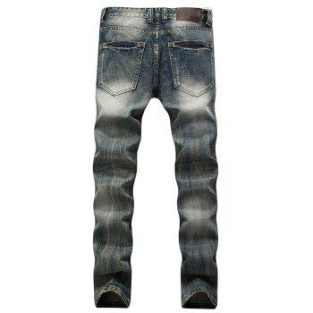 Faded Wash Straight Leg Ripped Jeans - Bleu 32