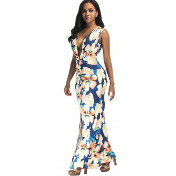 Plunging Floral Print Front Slit Maxi Dress - XL XL
