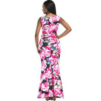 Floral Print Surplice Belted Maxi Dress - S S