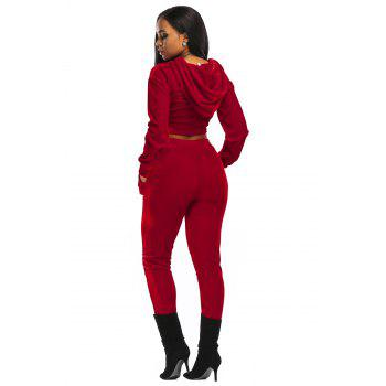 Velvet Cropped Hoodie and Pants Suit - RED RED