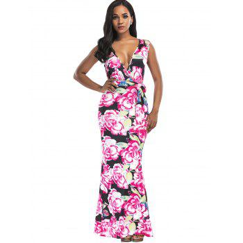 Floral Print Surplice Belted Maxi Dress - FLORAL M