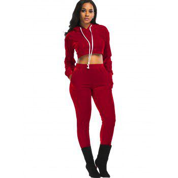 Velvet Cropped Hoodie and Pants Suit - RED XL