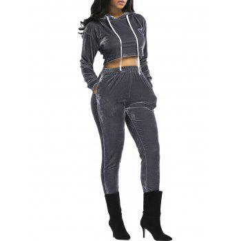 Velvet Cropped Hoodie and Pants Suit - GRAY XL
