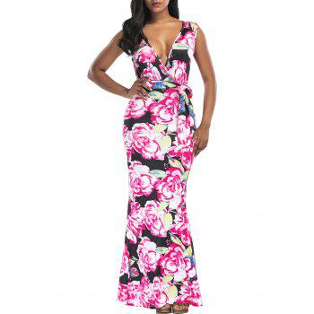 Floral Print Surplice Belted Maxi Dress - FLORAL XL