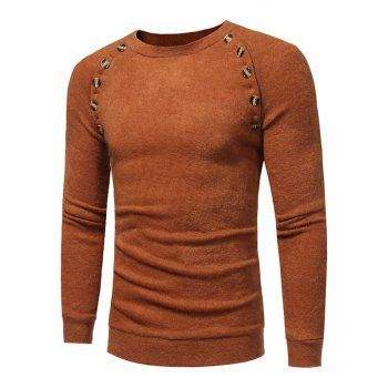 Raglan Sleeve Buttons Embellished Sweater - CAMEL 2XL