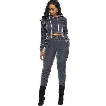 Velvet Cropped Hoodie and Pants Suit - GRAY M