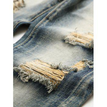 Faded Wash Straight Leg Ripped Jeans - Bleu 42