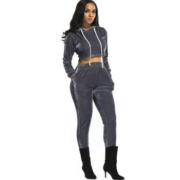 Velvet Cropped Hoodie and Pants Suit - GRAY S