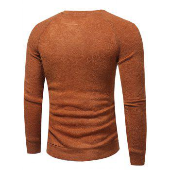 Raglan Sleeve Buttons Embellished Sweater - Camel XL