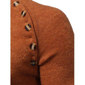 Raglan Sleeve Buttons Embellished Sweater - CAMEL CAMEL