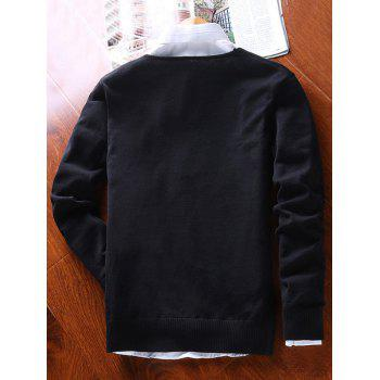 Faux Pocket Two Tone V Neck Sweater - BLACK BLACK