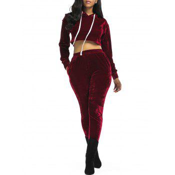 Velvet Cropped Hoodie and Pants Suit - WINE RED XL