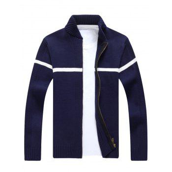 Ribbed Single Stripe Zip Up Cardigan - CADETBLUE 2XL