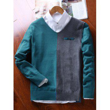 Faux Pocket Two Tone V Neck Sweater - GREEN BLUE 3XL