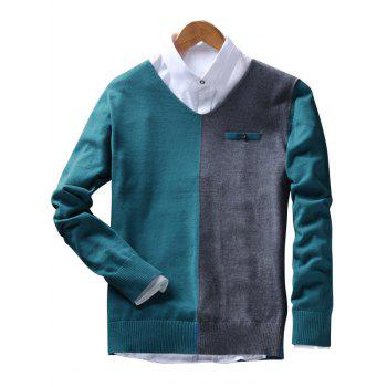 Faux Pocket Two Tone V Neck Sweater - GREEN BLUE GREEN BLUE