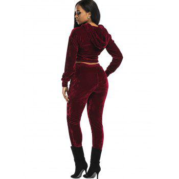 Velvet Cropped Hoodie and Pants Suit - WINE RED L